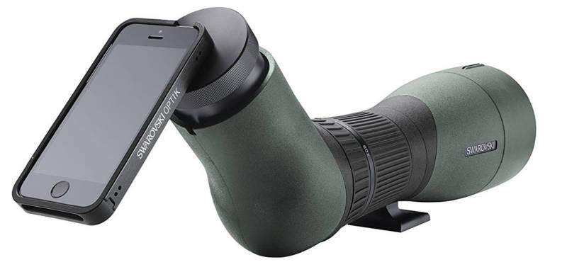 Bild eines iPhones, montiert via Smartphone Adapter an Spektiv des Herstellers Swarovski.